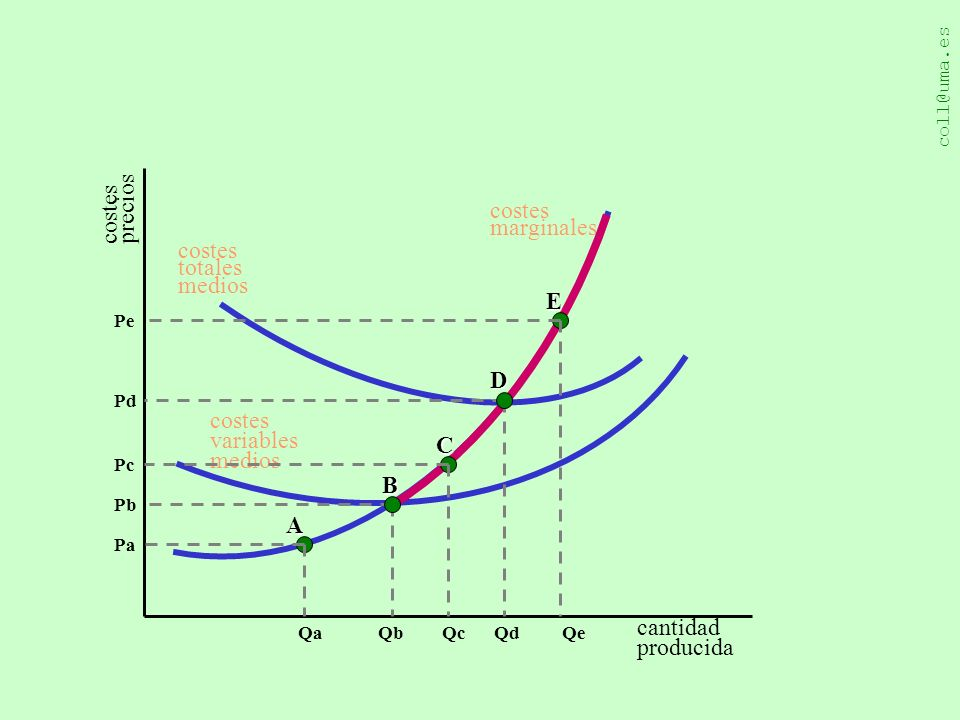 costes precios costes marginales costes totales medios E D costes