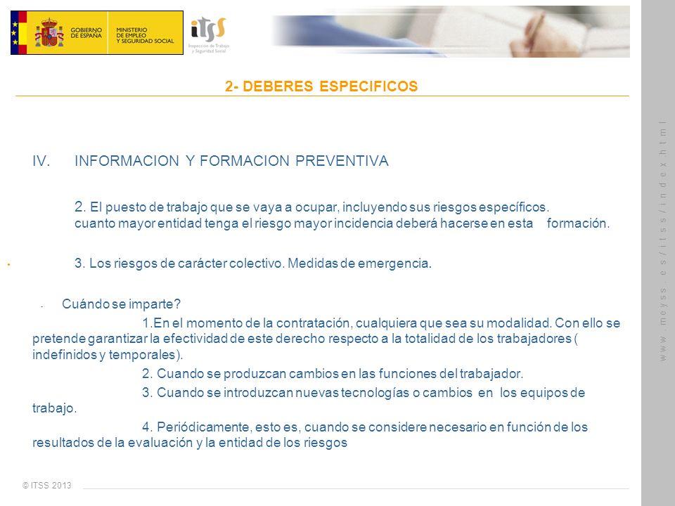 IV. INFORMACION Y FORMACION PREVENTIVA