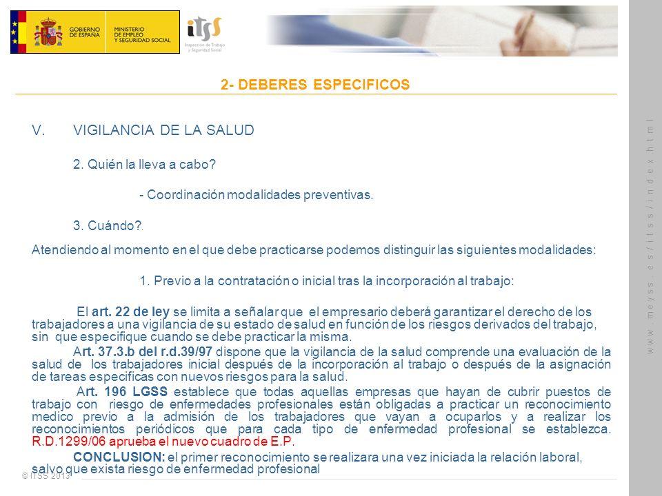 2- DEBERES ESPECIFICOS V. VIGILANCIA DE LA SALUD