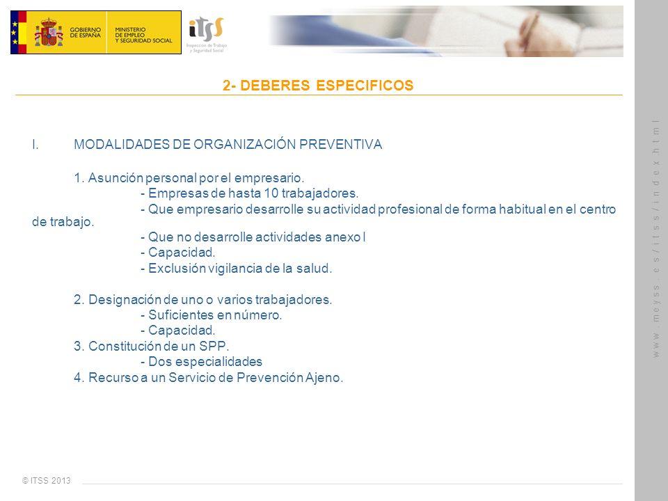 I. MODALIDADES DE ORGANIZACIÓN PREVENTIVA