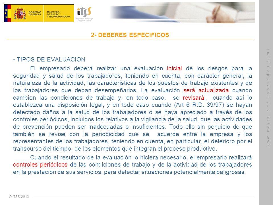 2- DEBERES ESPECIFICOS- TIPOS DE EVALUACION.