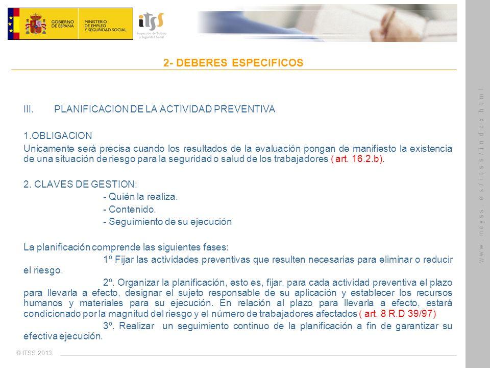 III. PLANIFICACION DE LA ACTIVIDAD PREVENTIVA