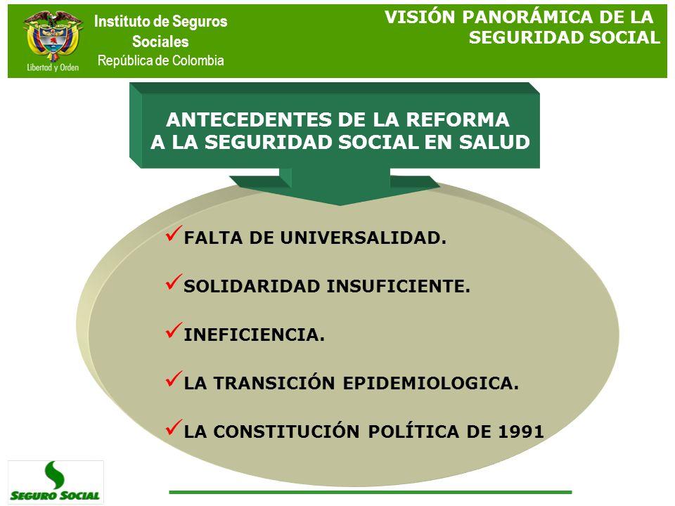 ANTECEDENTES DE LA REFORMA A LA SEGURIDAD SOCIAL EN SALUD