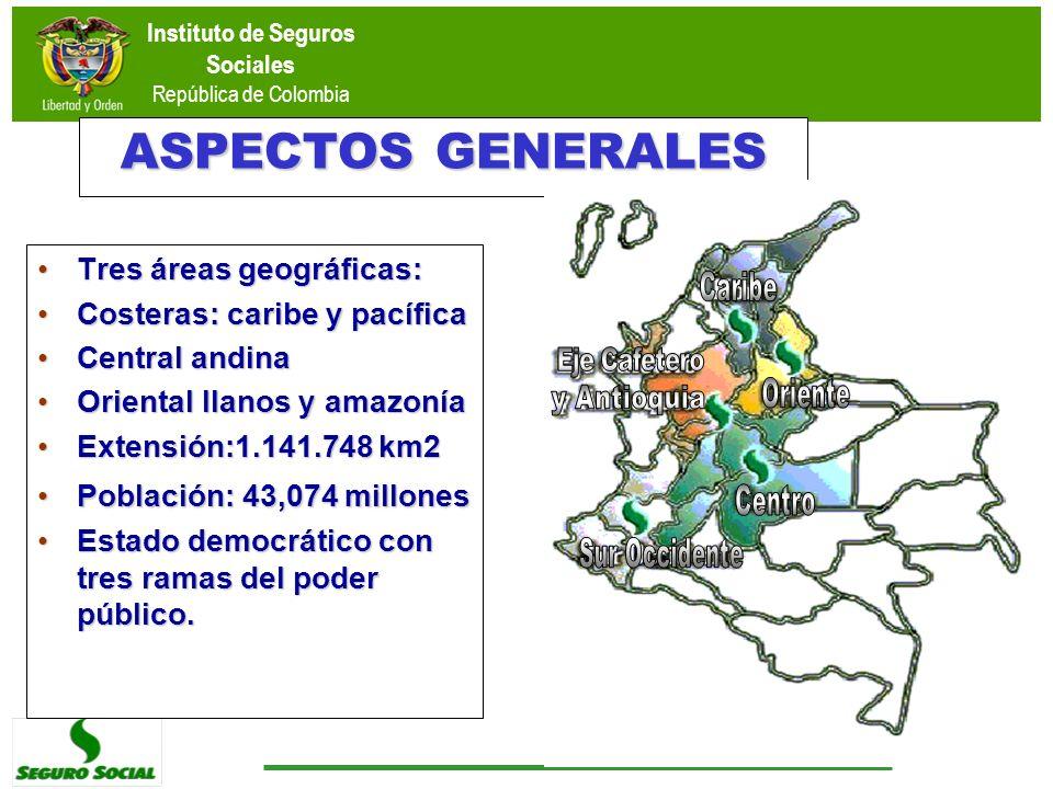 ASPECTOS GENERALES Tres áreas geográficas: Costeras: caribe y pacífica