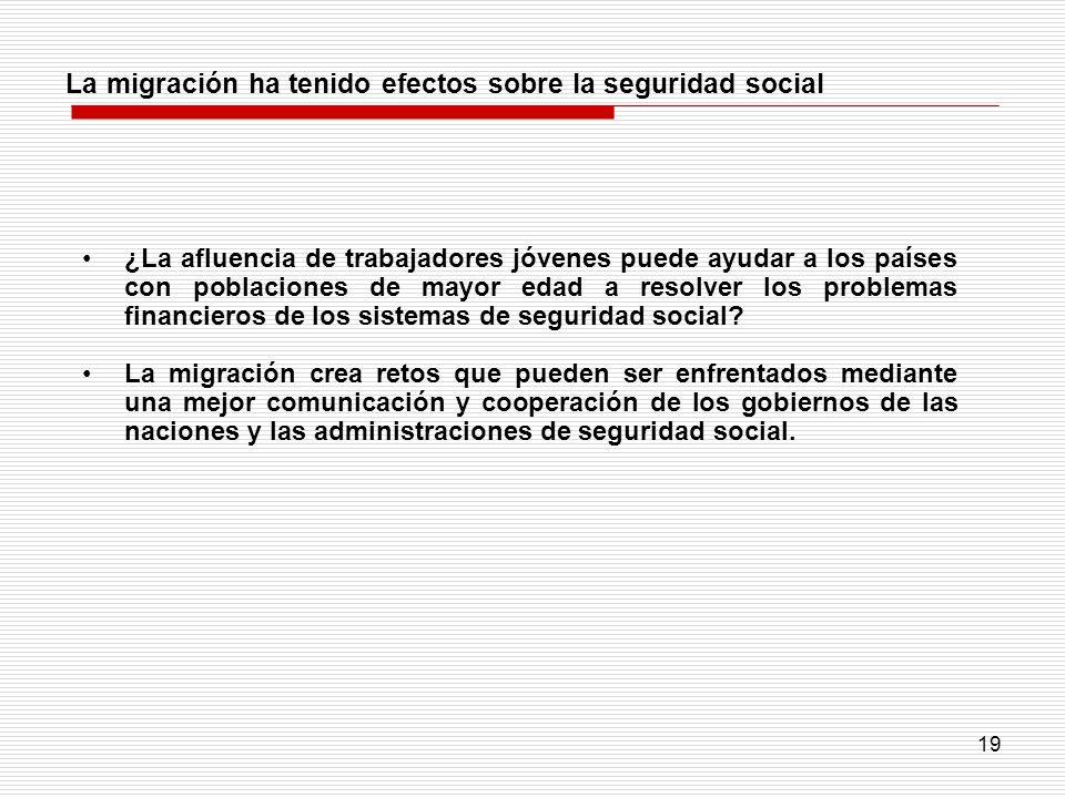 La migración ha tenido efectos sobre la seguridad social