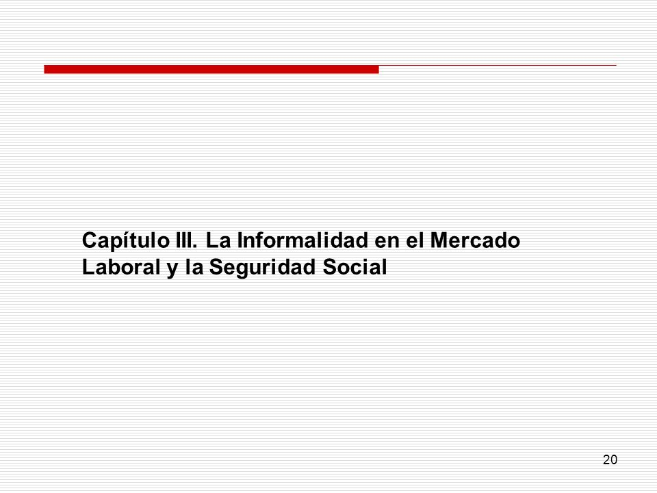 Capítulo III. La Informalidad en el Mercado Laboral y la Seguridad Social