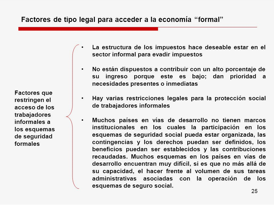 Factores de tipo legal para acceder a la economía formal