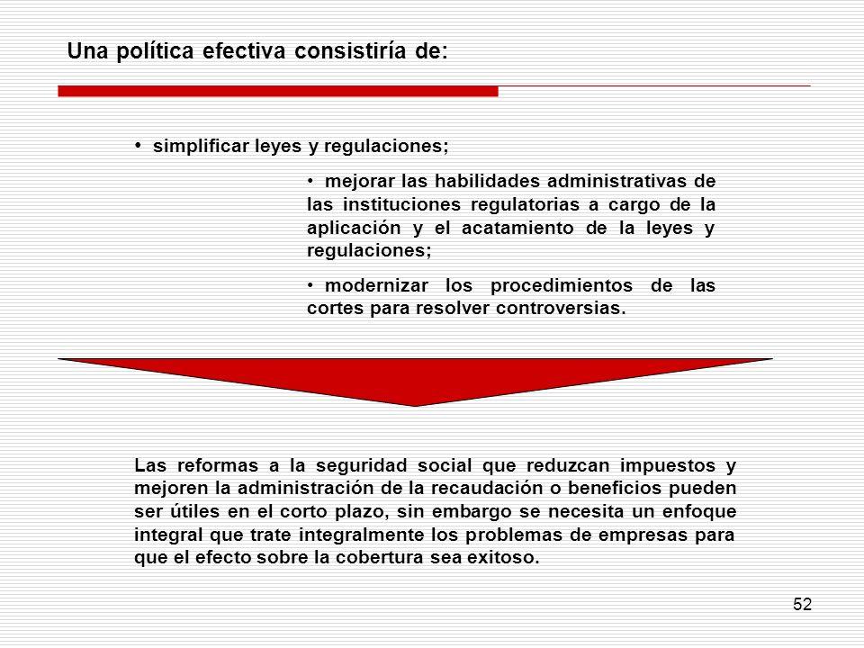 Una política efectiva consistiría de: