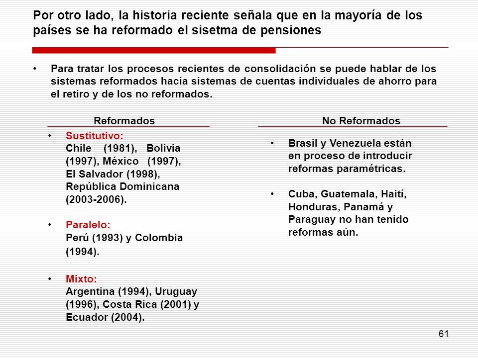 Por otro lado, la historia reciente señala que en la mayoría de los países se ha reformado el sisetma de pensiones