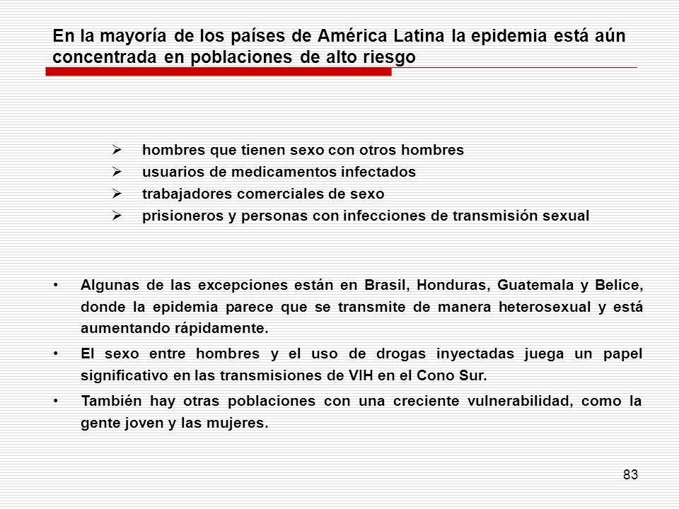 En la mayoría de los países de América Latina la epidemia está aún concentrada en poblaciones de alto riesgo
