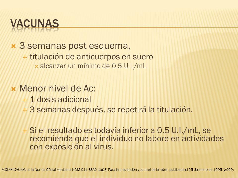 vacunas 3 semanas post esquema, Menor nivel de Ac: