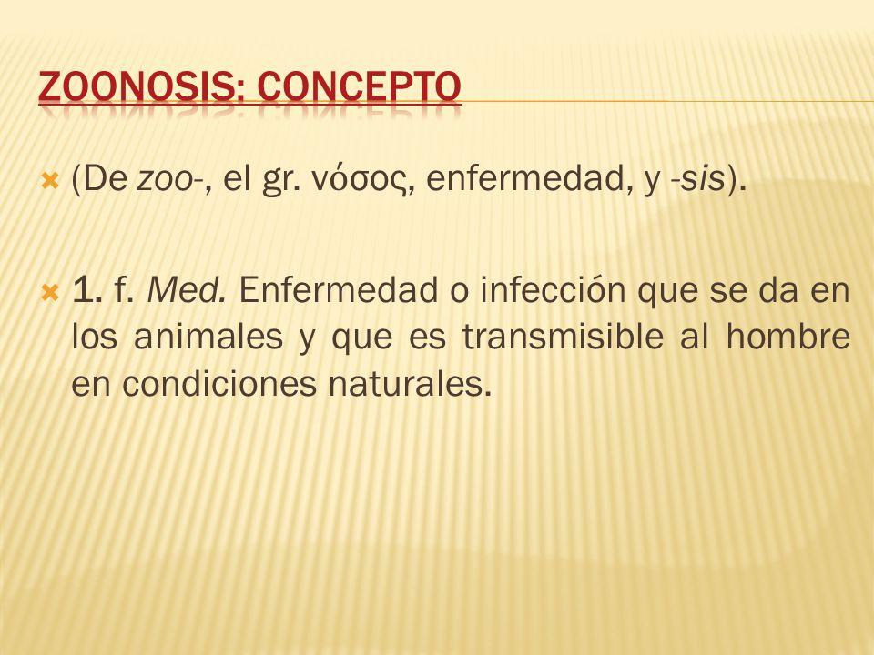 Zoonosis: concepto (De zoo-, el gr. νόσος, enfermedad, y -sis).
