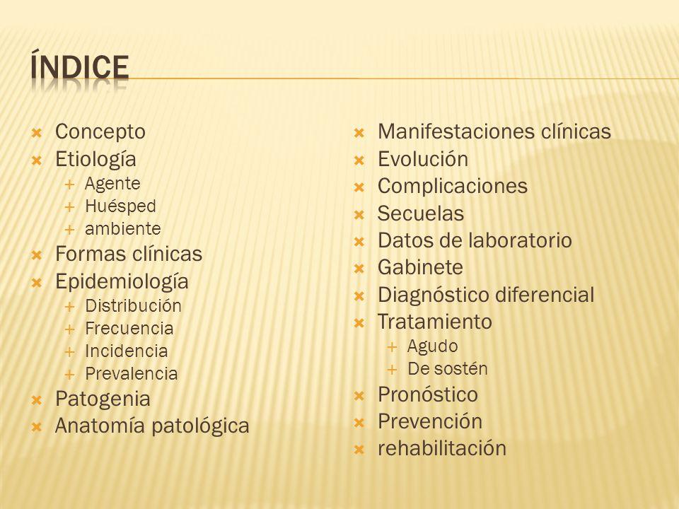 Índice Concepto Etiología Formas clínicas Epidemiología Patogenia