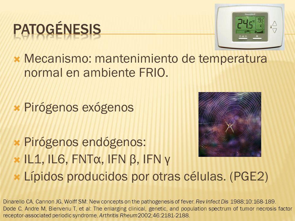 patogénesis Mecanismo: mantenimiento de temperatura normal en ambiente FRIO. Pirógenos exógenos. Pirógenos endógenos: