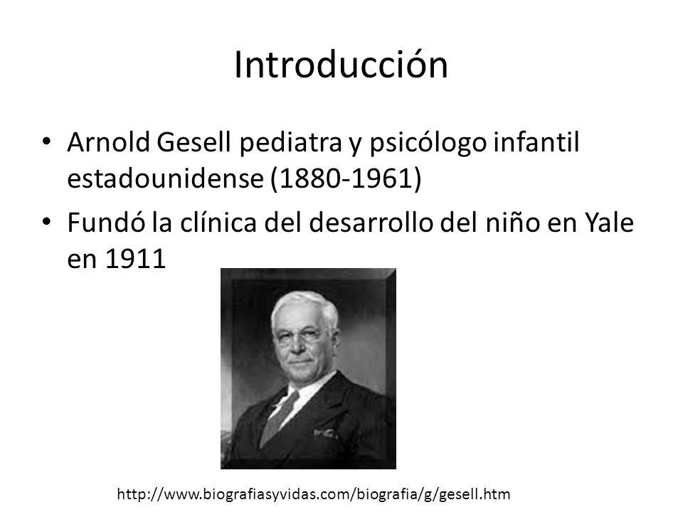 Introducción Arnold Gesell pediatra y psicólogo infantil estadounidense (1880-1961) Fundó la clínica del desarrollo del niño en Yale en 1911.