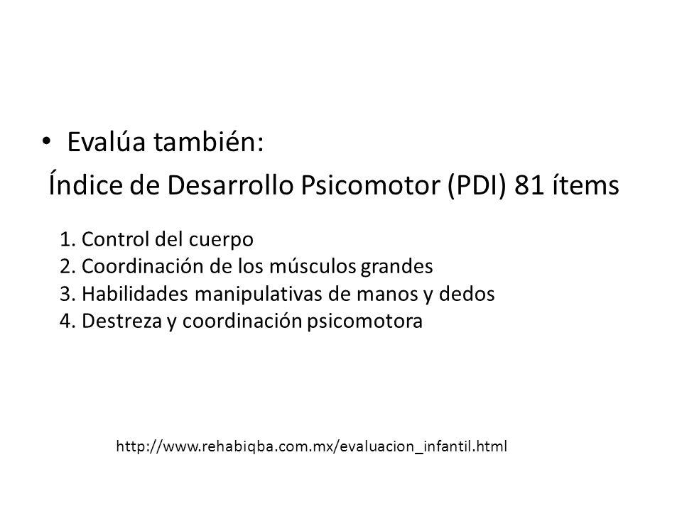 Índice de Desarrollo Psicomotor (PDI) 81 ítems
