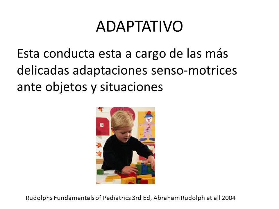 ADAPTATIVO Esta conducta esta a cargo de las más delicadas adaptaciones senso-motrices ante objetos y situaciones.