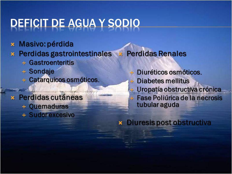 Deficit de agua y sodio Masivo: pérdida Perdidas gastrointestinales