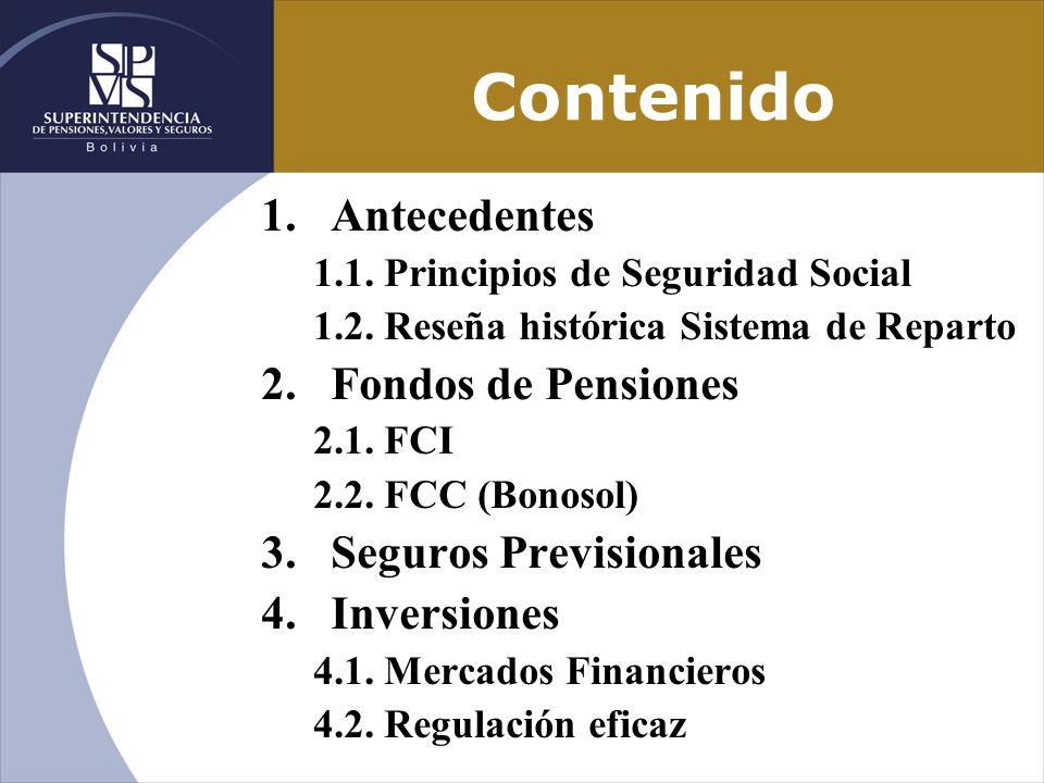 Contenido Antecedentes Fondos de Pensiones Seguros Previsionales