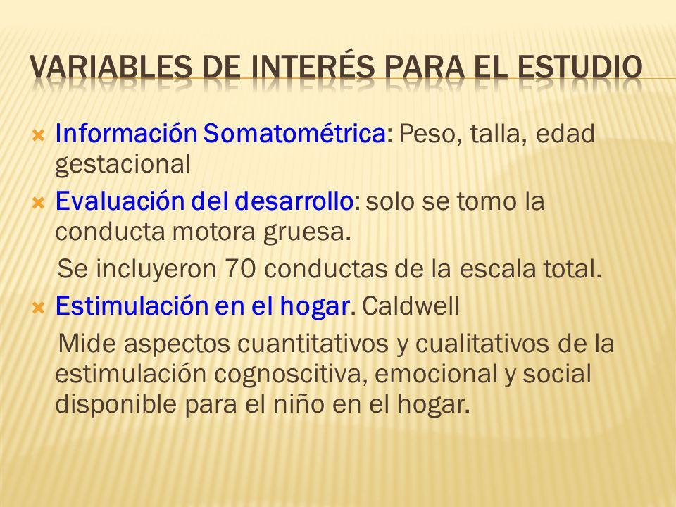Variables de interés para el estudio