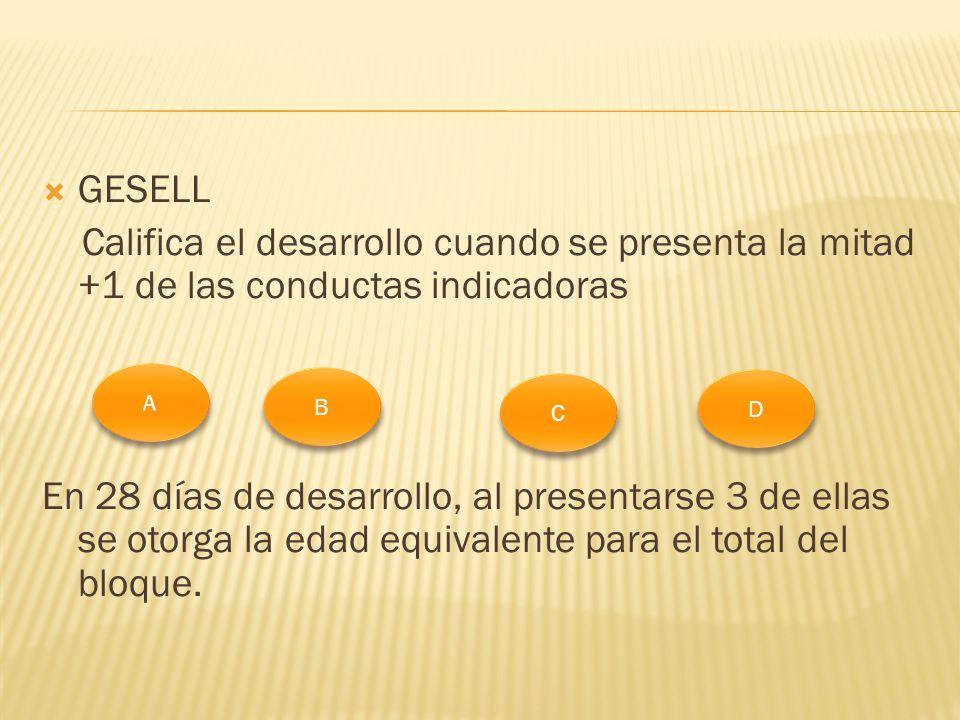 GESELL Califica el desarrollo cuando se presenta la mitad +1 de las conductas indicadoras.
