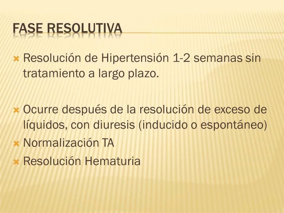 Fase Resolutiva Resolución de Hipertensión 1-2 semanas sin tratamiento a largo plazo.