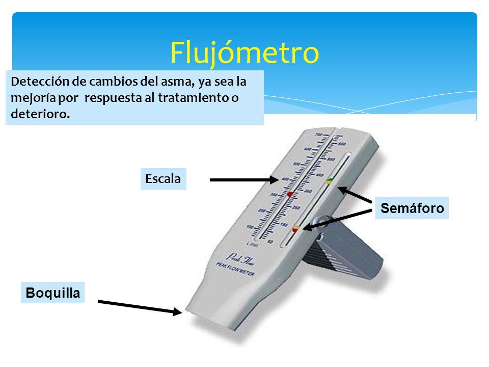 Flujómetro Detección de cambios del asma, ya sea la mejoría por respuesta al tratamiento o deterioro.