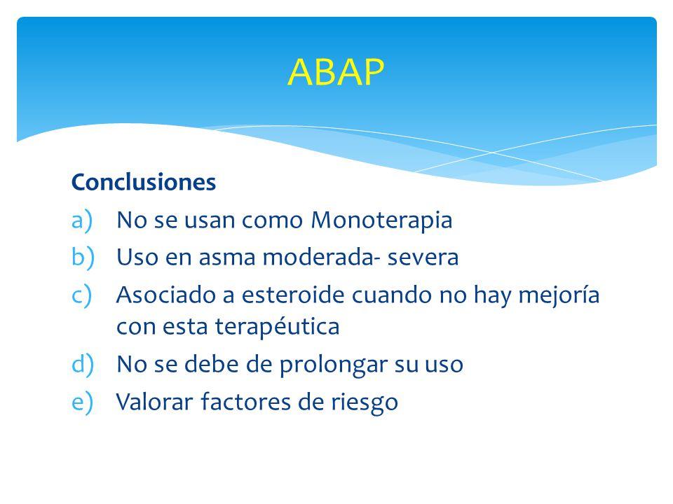 ABAP Conclusiones No se usan como Monoterapia