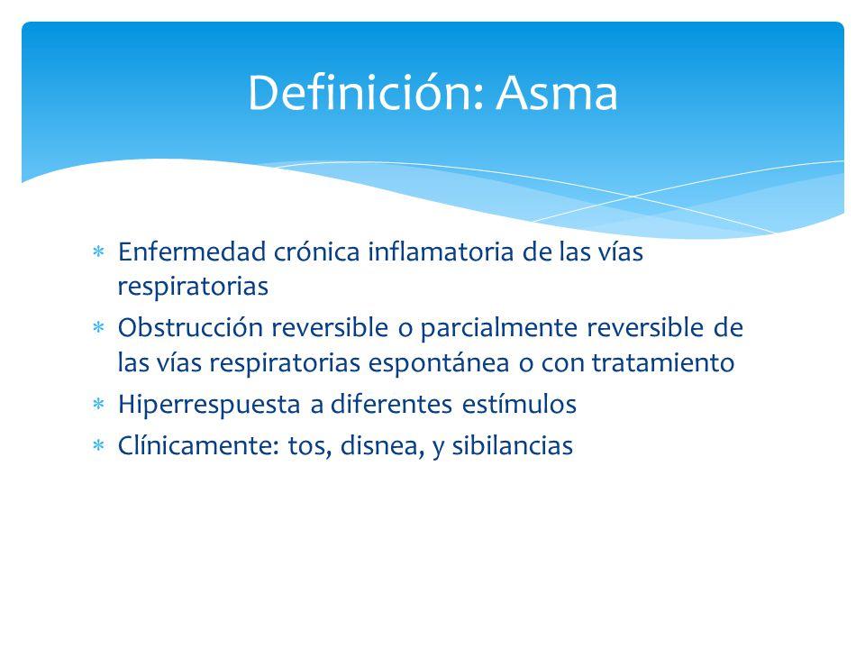 Definición: Asma Enfermedad crónica inflamatoria de las vías respiratorias.