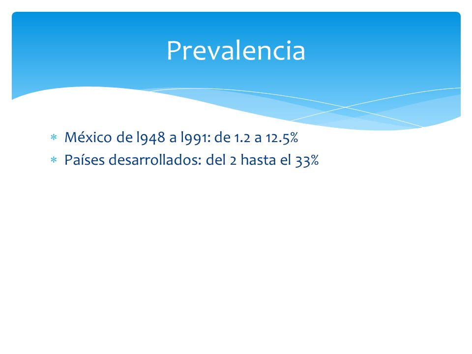 Prevalencia México de l948 a l991: de 1.2 a 12.5%