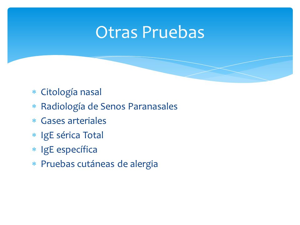 Otras Pruebas Citología nasal Radiología de Senos Paranasales