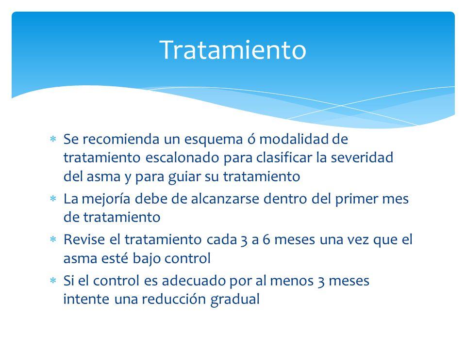 Tratamiento Se recomienda un esquema ó modalidad de tratamiento escalonado para clasificar la severidad del asma y para guiar su tratamiento.