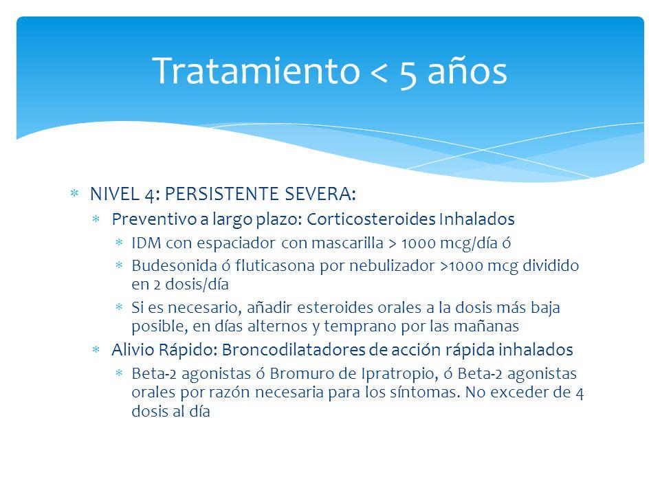 Tratamiento < 5 años NIVEL 4: PERSISTENTE SEVERA: