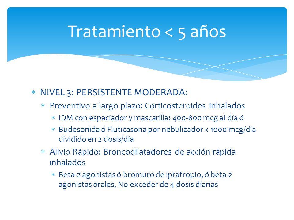 Tratamiento < 5 años NIVEL 3: PERSISTENTE MODERADA: