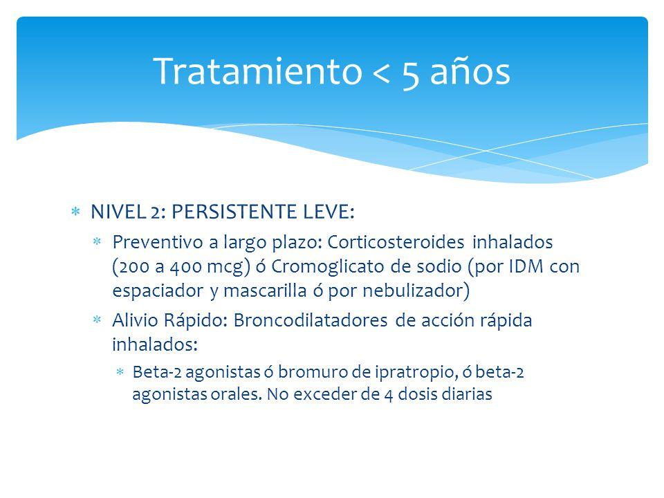 Tratamiento < 5 años NIVEL 2: PERSISTENTE LEVE:
