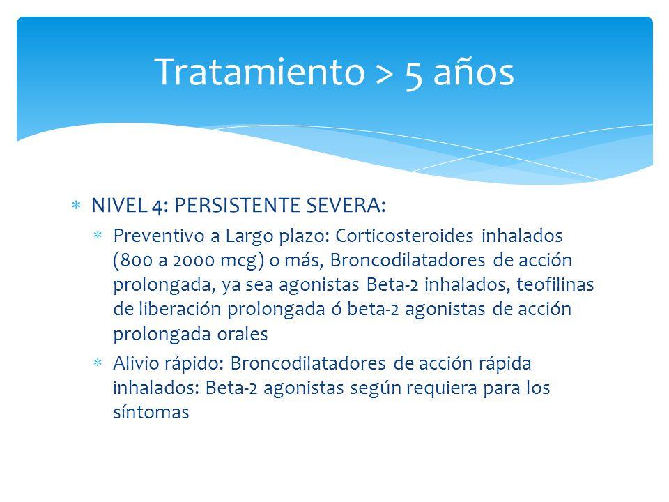 Tratamiento > 5 años NIVEL 4: PERSISTENTE SEVERA:
