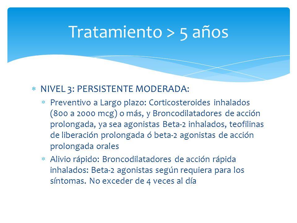 Tratamiento > 5 años NIVEL 3: PERSISTENTE MODERADA: