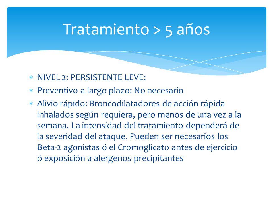 Tratamiento > 5 años NIVEL 2: PERSISTENTE LEVE: