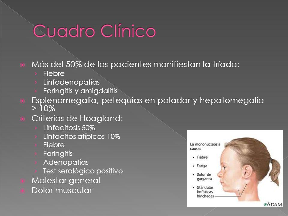Cuadro Clínico Más del 50% de los pacientes manifiestan la tríada: