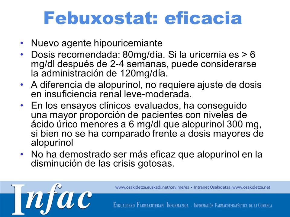 Febuxostat: eficacia Nuevo agente hipouricemiante