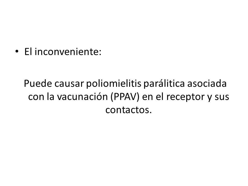 El inconveniente: Puede causar poliomielitis parálitica asociada con la vacunación (PPAV) en el receptor y sus contactos.