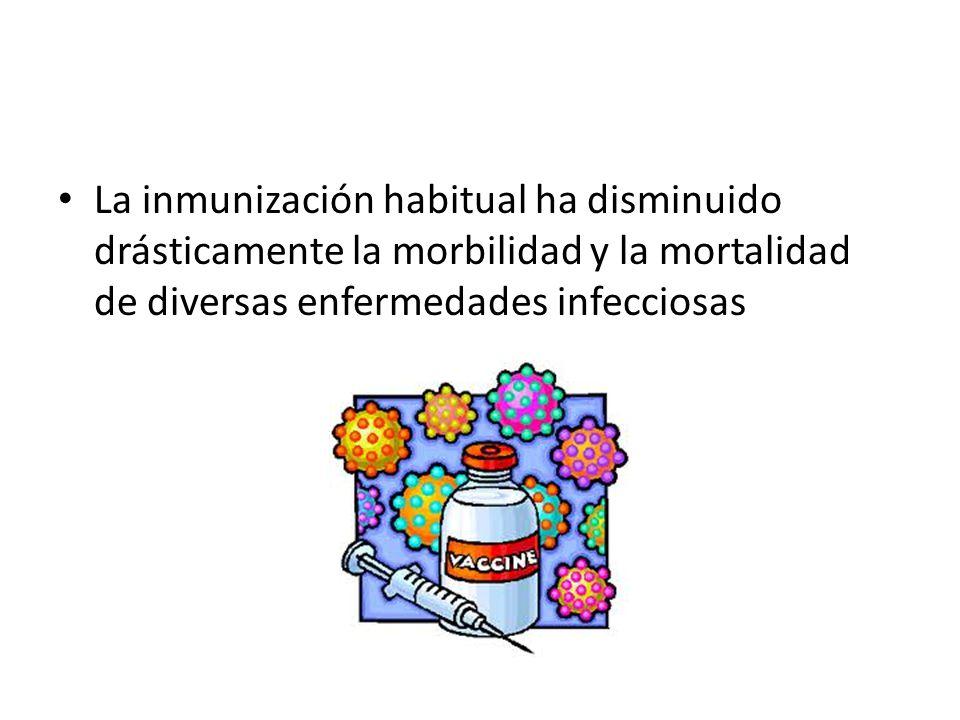 La inmunización habitual ha disminuido drásticamente la morbilidad y la mortalidad de diversas enfermedades infecciosas