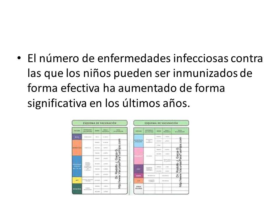 El número de enfermedades infecciosas contra las que los niños pueden ser inmunizados de forma efectiva ha aumentado de forma significativa en los últimos años.