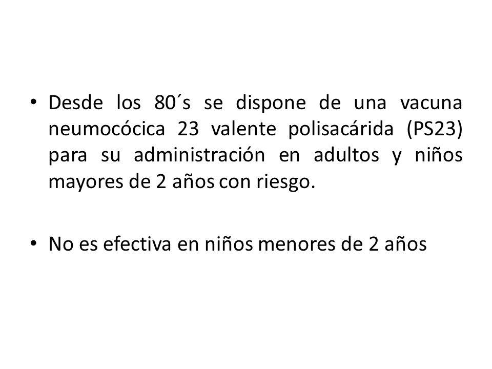 Desde los 80´s se dispone de una vacuna neumocócica 23 valente polisacárida (PS23) para su administración en adultos y niños mayores de 2 años con riesgo.