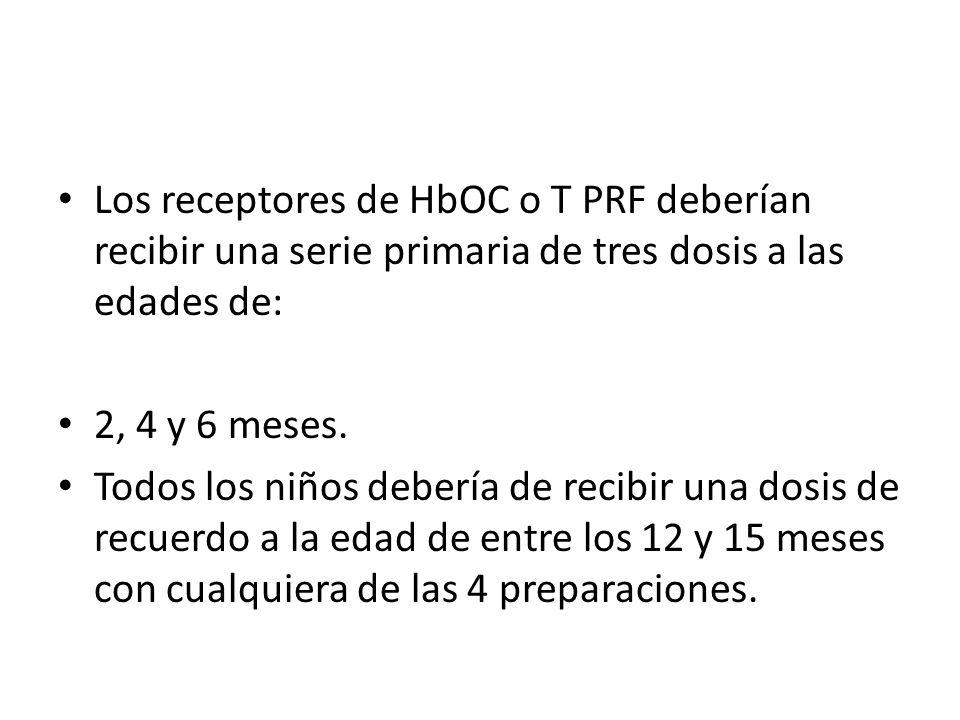 Los receptores de HbOC o T PRF deberían recibir una serie primaria de tres dosis a las edades de: