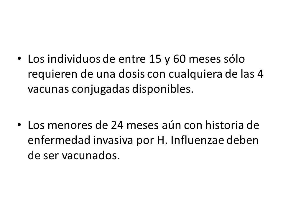 Los individuos de entre 15 y 60 meses sólo requieren de una dosis con cualquiera de las 4 vacunas conjugadas disponibles.