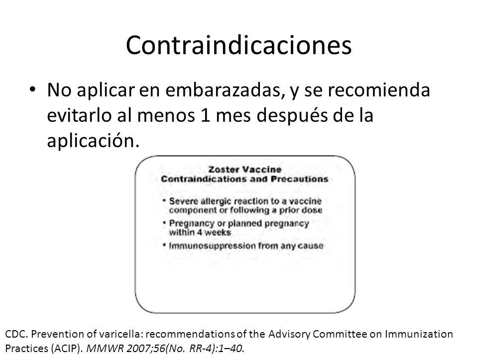 Contraindicaciones No aplicar en embarazadas, y se recomienda evitarlo al menos 1 mes después de la aplicación.