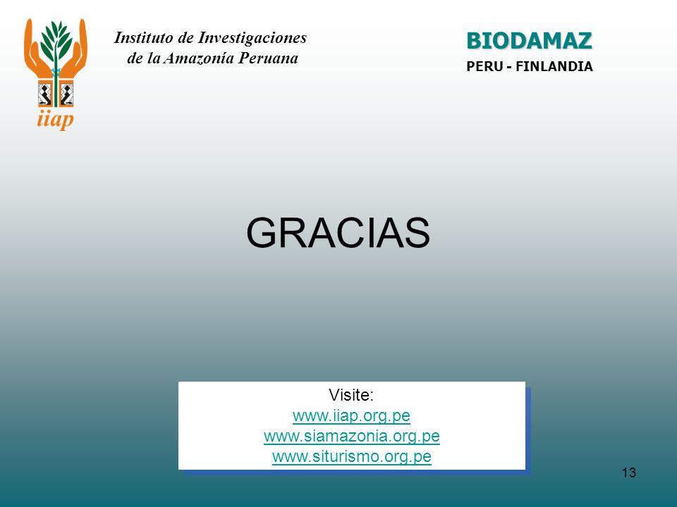 GRACIAS BIODAMAZ Instituto de Investigaciones de la Amazonía Peruana