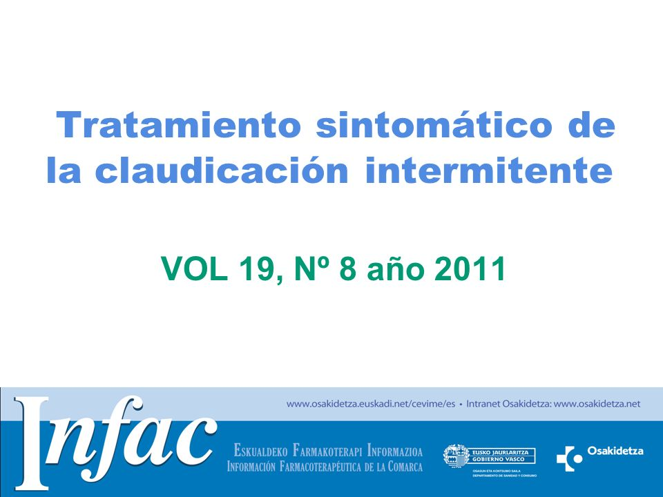 Tratamiento sintomático de la claudicación intermitente VOL 19, Nº 8 año 2011