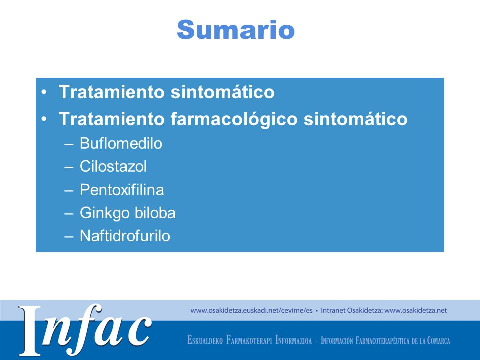 Sumario Tratamiento sintomático Tratamiento farmacológico sintomático